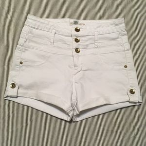 High waisted stretchy white SHORTs